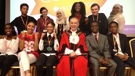 Youth councillors with Islington mayor Cllr Barry Edwards