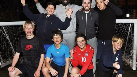 The winning team with Ben Cole third from back left. Pic Dieter Perry