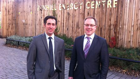 Matthew Pencharz (left) and Cllr Richard Watts at the Bunhill Energy Centre