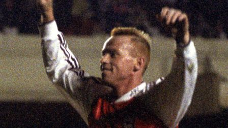 Perry Groves celebrates scoring for Arsenal