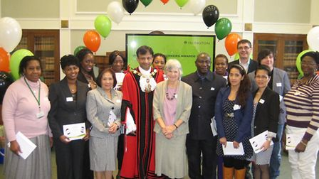 Islington Care Awards winners with Dennah Patterson (sixth from right)