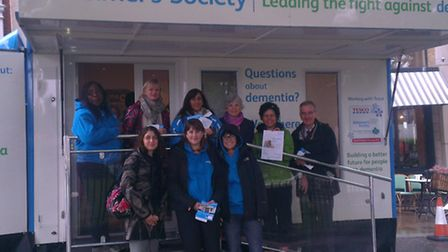 Cllr Janet Burgess and staff at the dementia roadshow