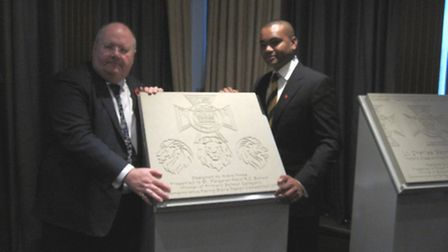 Left to right: Eric Pickles, communities secretary and Lance Sergeant Johnson Beharry, with the pavi