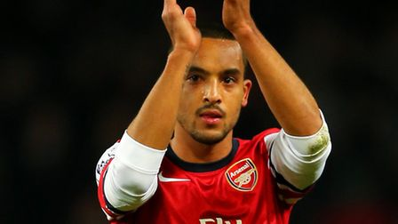 Theo Walcott of Arsenal applauds the fans following his team's 2-0 victory over Southampton. Photo b