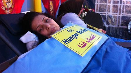 Touran Ranjbar who has been on hunger strike outside the US Embasy since September 1