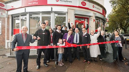 MP Emily Thornberry cuts the ribbon on the revamaped post office Pic: David Cotter