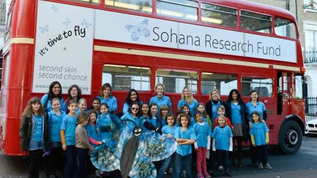Young campaigners and their bus, raising awareness for EB week and the Sohana Research Fund