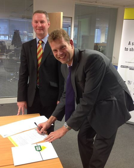 Nick Rhodes, left, with Simon Legg from Brent and Harrow Trading Standards Service
