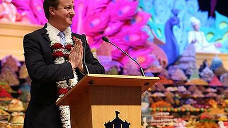 Prime Minister David Cameron visited the temple as part of Diwali celebrations (Pic credit: Twitter@