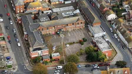 An aerial view of the former Lowestoft Hospital site. Picture: Mike Page