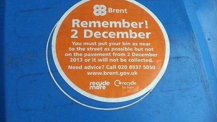 Residents must take their bins to the edge of their properties from January 6
