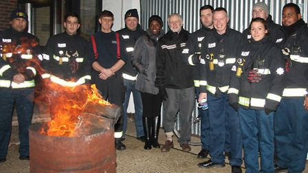 Jeremy Corbyn with firefigters at Holloway Fire Station - Paul Wood