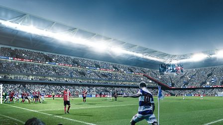 A computer-generated image of how QPR's future stadium could look
