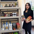 Charlotte by her produce at her new fine foods shop at 37 Amwell Street, N1