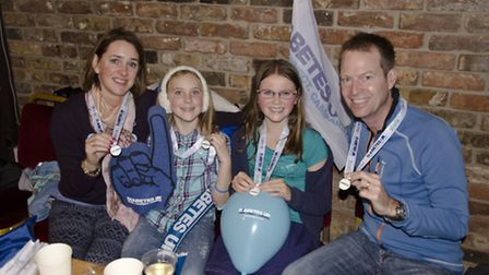 Talitha, Millie, Isabelle and Paul Newman after completing the London Bridges Challenge. Pic: Sam Ca