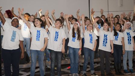 Young performers from the Kaos Signing Choir for deaf and hearing children