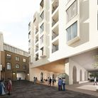 An artist's impression of how a new rear courtyard might look