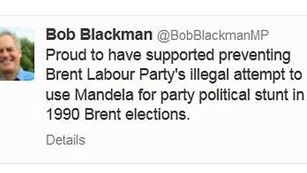Bob Blackman tweeted on the day Nelson Mandela's funeral was taking place