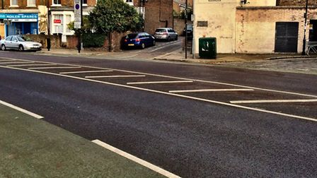The road markings in question on Drayton Park