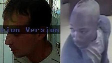 Suspect 125371, left, is wanted in connection with a burglary in Wembley in July, Suspect 127715, ri