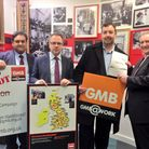 Cllr Gallagher, Cllr Watts, Paul Kenny, general secretary of GMB and Claude Moraes MEP stand against