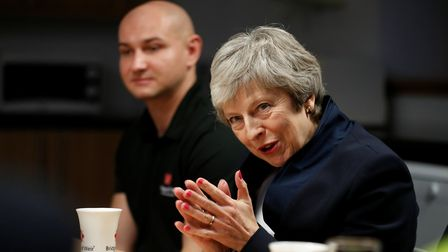 Prime Minister Theresa May visits the Scottish Leather Group Limited, in Bridge of Weir, Scotland. P