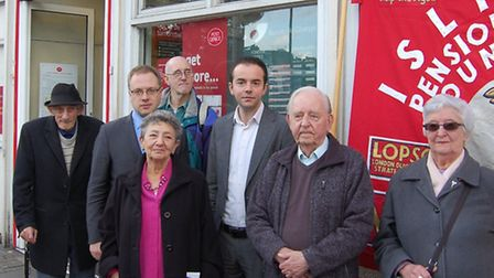 Members of Islington Pensioners Forum at Highbury Corner Post Office with Cllrs Richard Watts, leade