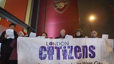 Living wage campaigners voice their fraustrations outside the Emirates Pic: Tolga Akmen