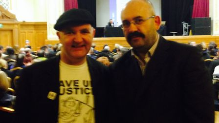 Cllr Greg Foxsmith with High Court solicitor Tony Meisels at Islington Assembly Hall today