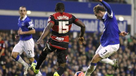 Nikica Jelavic scores for Everton against QPR in the FA Cup third round at Goodison Park
