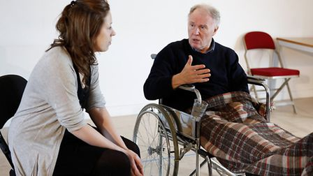 Rehearsals for Stroke of Luck at Park Theatre. Tim Pigott-Smith (Lester Riley) and Kirsty Malpass (C