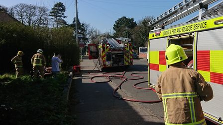 Firefighters were called to Fir Lane in Lowestoft and assisted the evacuation of two people from the