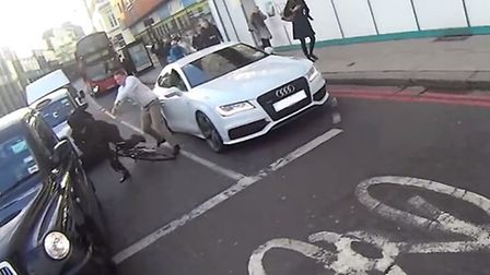 An image from the video of the alleged road rage attack