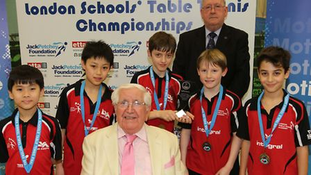 St Mary Magdalene table tennis team with Jack Petchey (front)