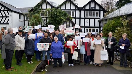 Members of Friends Of Barham Library oustide the axed branch