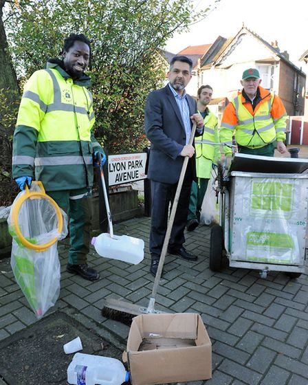 Cllr Muhammed Butt with Veolia staff and Brent Council officers in Lyon Park Avenue