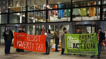 Protestors outside the meeting at the civic centre (Pic credit: Martin Francis)