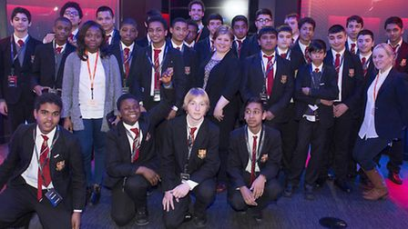 Students from the Central Foundation boys school with Emily Thornberry at Sky Studios