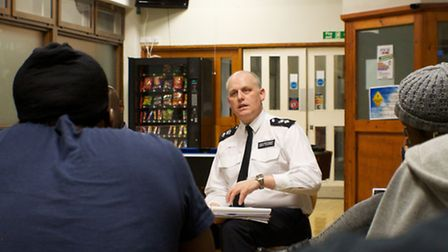 Islington Borough Commander Gerry Campbell is cross examined by young people at City YMCA London