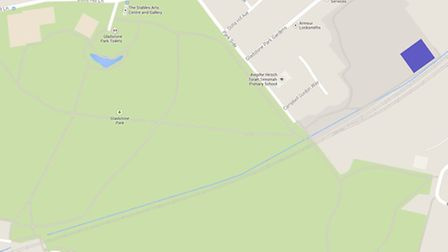 The Gladstone School (blue) plans to sit on the playing fields (grey). Gladstone Park is in Green