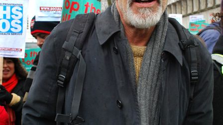 Roger Lloyd-Pack marching to save the Whittington Hospital in March last year