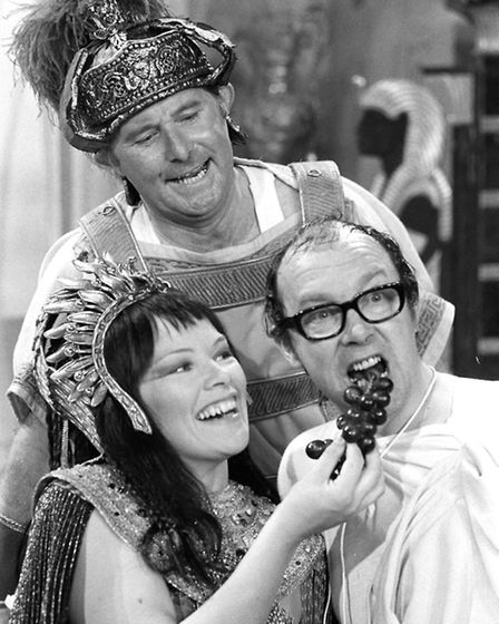 MP Glenda Jackson with comedians Eric Morecombe and Ernie Wise, in 1971 during her acting career. (