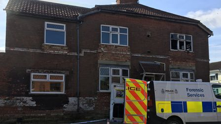 Police at the end terraced property in Maidstone Road, Lowestoft following a house fire. Pictures: M