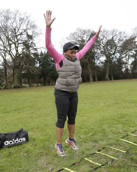 Lorraine in the midst of a dreaded burpee (pic credit: Jan Nevill)
