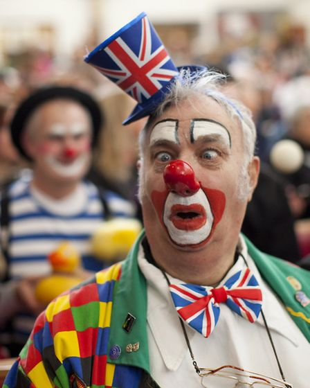 Clowns gather at the annual Clowns' Church Service for the memory of English actor Joseph Grimaldi a
