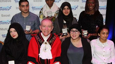 City and Islington College students with Islington Mayor Councillor Barry Edwards, and Faye Guy perf