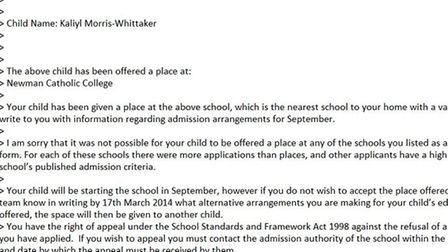 Anita Whittaker was sent an email offering her a son a place at Newman Catholic College