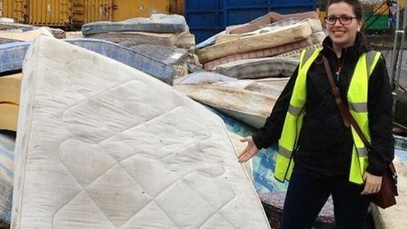 Cllr Mashari visited Ruislip to see how mattresses collected from Brent households are recycled