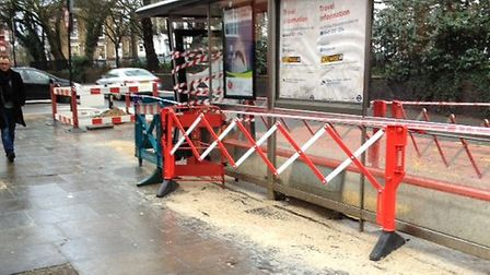 The remains of a bus stop in Highbury Park after a collision on February 6
