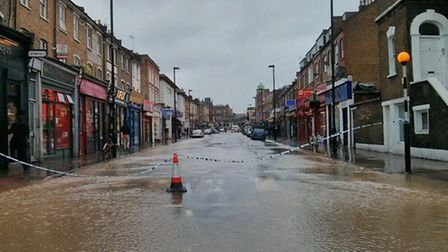 Parts of Blackstock Road are completely underwater Pic: Richard Berns